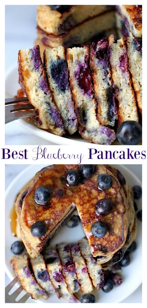 Soft and fluffy Blueberry Pancakes are a family favorite breakfast!
