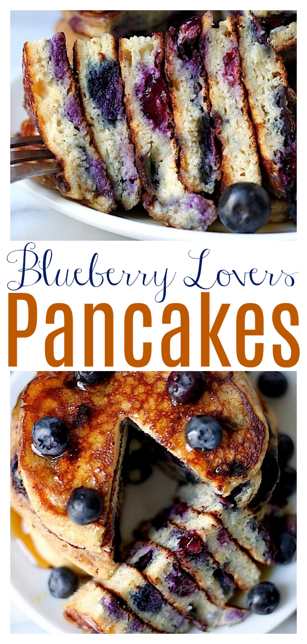 The Blueberry Pancakes of Your Dreams are thick, fluffy, and just bursting with fresh blueberries! Delicious with a drizzle of maple syrup or even ice cream! These golden brown blueberry pancakes are the perfect breakfast recipe to whip up this weekend!