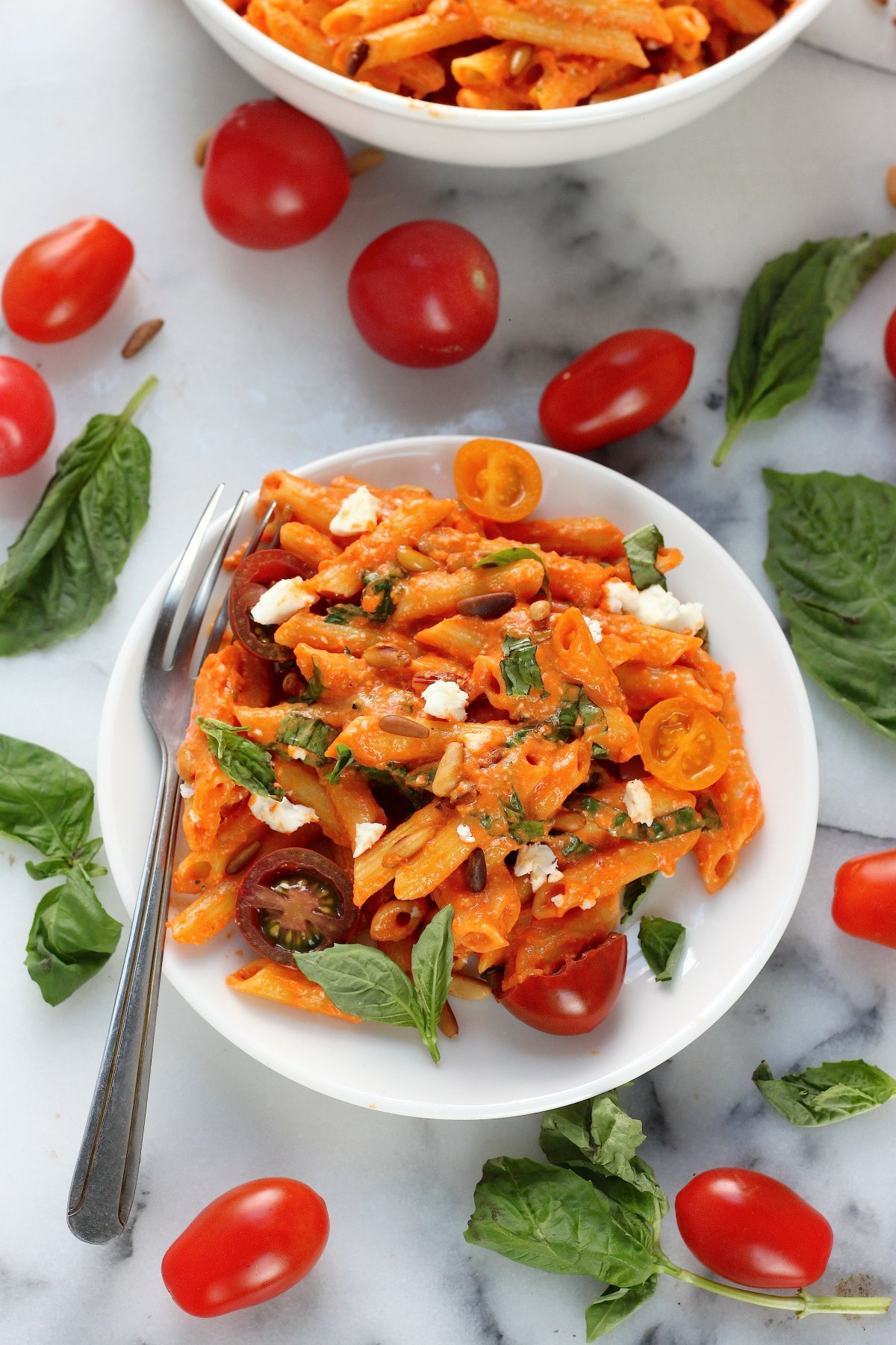 Penne with Roasted Red Pepper Sauce, Pine Nuts, Fresh Tomato, and Feta ...
