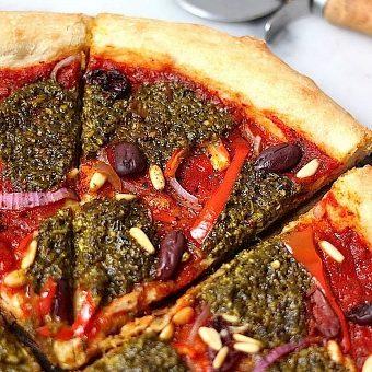 Summertime Pesto Pizza (Skinny, Vegan, Dairy Free)