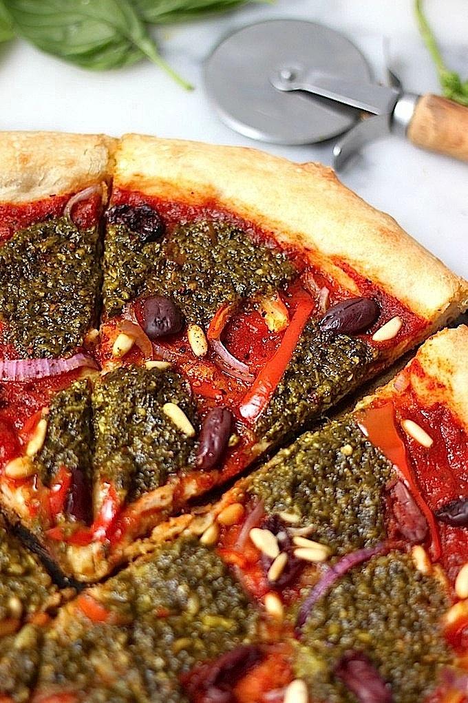 Summer Pesto Pizza (Skinny, Vegan, Dairy Free)