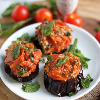 Roasted Eggplant with Fresh Tomato Skillet Sauce