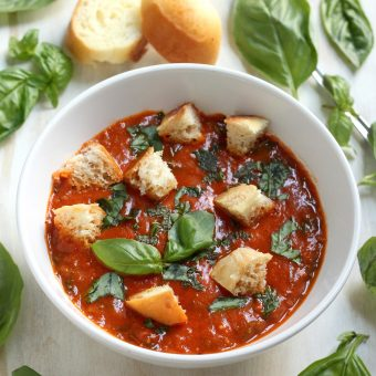 Summertime Fresh Tomato Soup with Brioche Croutons and Basil Oil