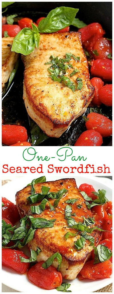 One Pan Seared Swordfish With Spicy Olive Oil Poached