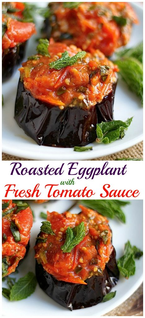 Roasted Eggplant with Fresh Tomato Skillet Sauce - Baker by Nature
