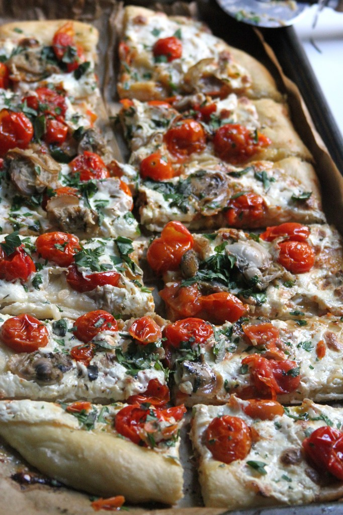 Cherry Stone Clam Pizza with Blistered Tomatoes and Fresh Herbs