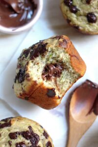 Nutella Stuffed Chocolate Chunk Zucchini Muffins