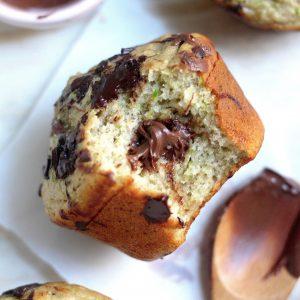 Nutella Stuffed Chocolate Chunk Zucchini Muffins
