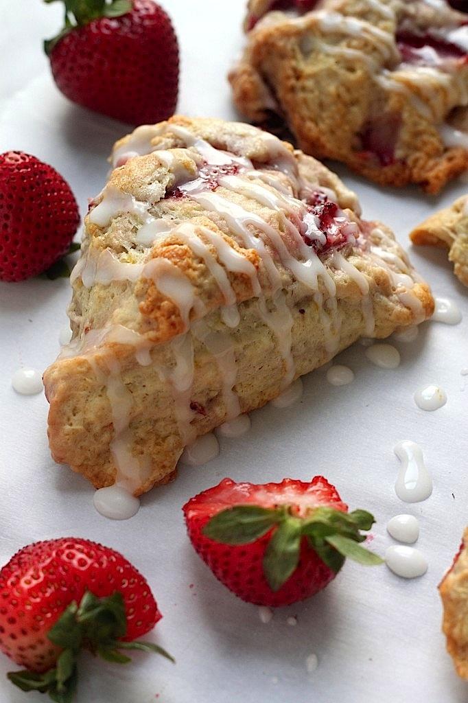 Fresh Strawberry Scones with Lemon Glaze - Baker by Nature