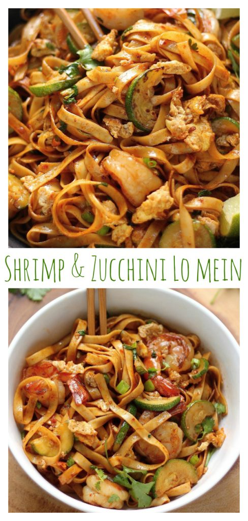 Shrimp and Zucchini Lo Mein! This quick and easy meal is a family favorite!