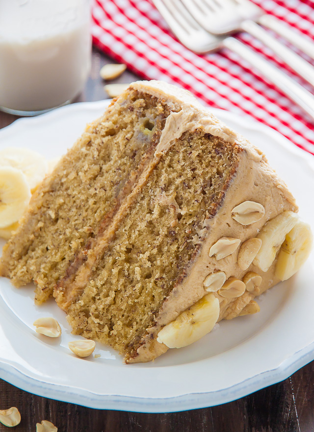 My favorite Banana Cake with Peanut Butter Frosting! A pop of honey and sea salt makes it extra delicious.
