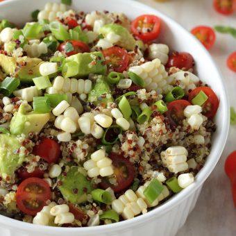 End of Summer Corn, Tomato, and Avocado Quinoa Salad