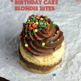 Double Decker Birthday Cake Blondie Bites