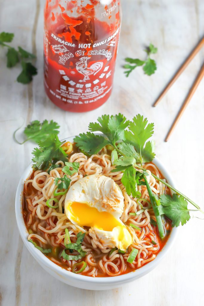 20 Minute Spicy Sriracha Ramen Noodle Soup