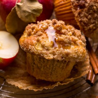 Bust out your muffins tins, because today I'm teaching you how to make the best apple crumb muffins! These apple muffins are moist, richly spiced, and loaded with tender apples! Plus, plenty of buttery crumb topping!