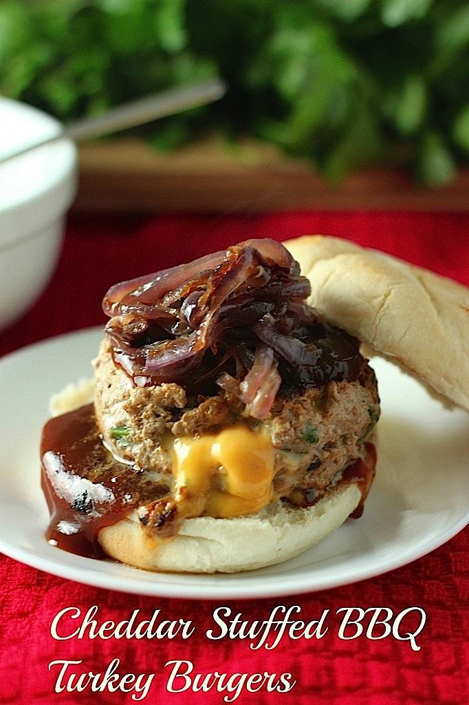 Double Cheddar Stuffed BBQ Turkey Burgers
