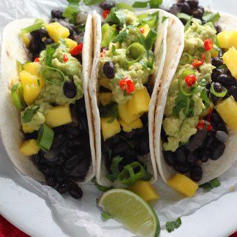 Healthy Black Bean, Mango, and Guacamole Tacos