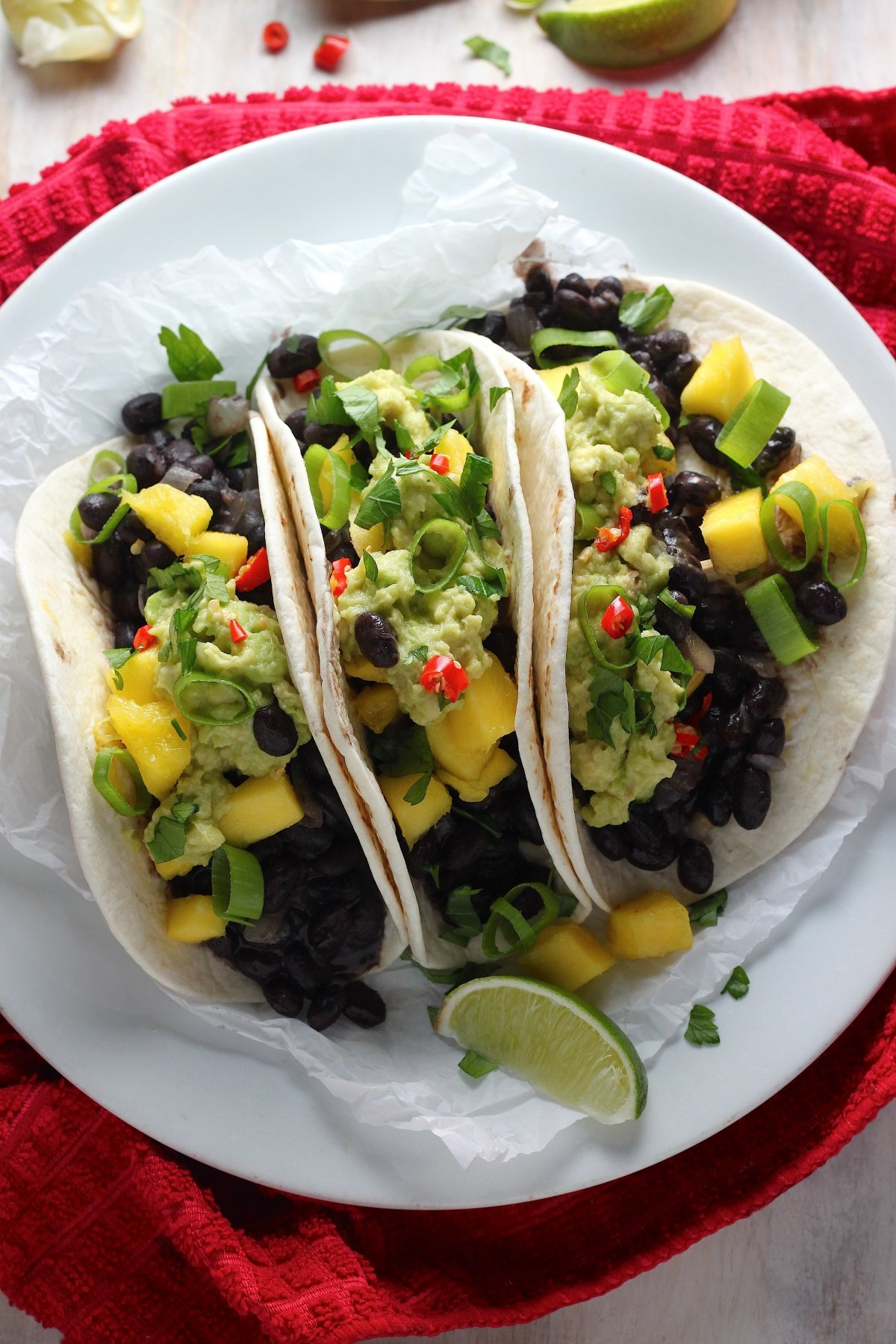 Healthy Black Bean, Mango, and Guacamole Tacos - Baker by Nature