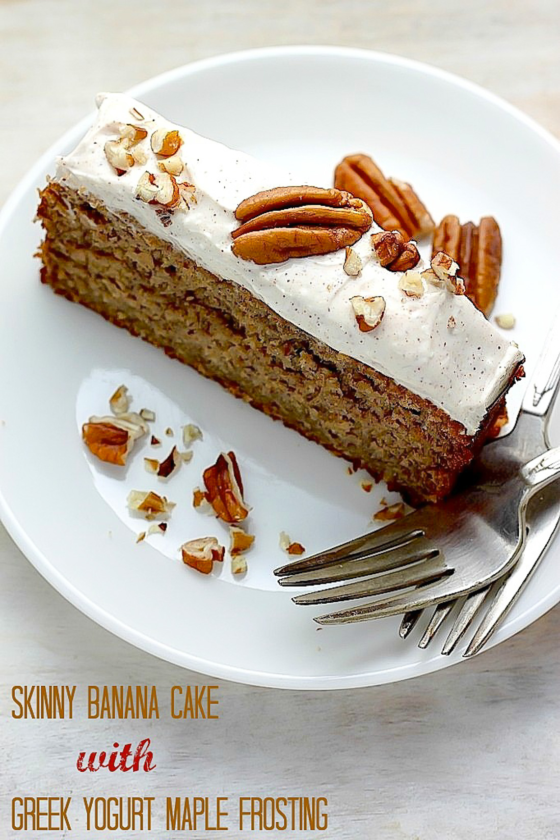 Skinny Banana Cake with Maple Frosting - Baker by Nature