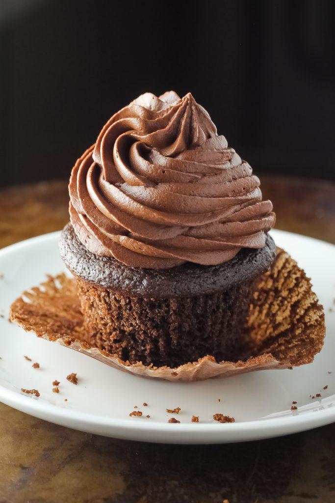 Greek Yogurt Chocolate Fudge Cupcakes
