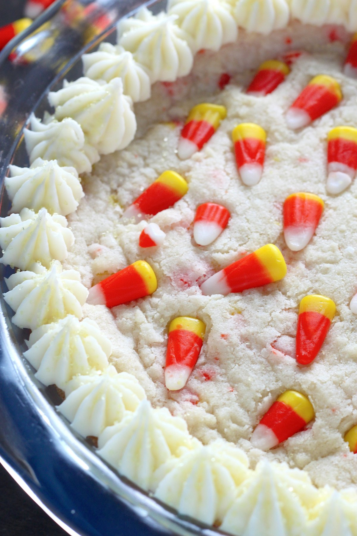 5-Ingredient Candy Corn Cookie Cake - Baker by Nature
