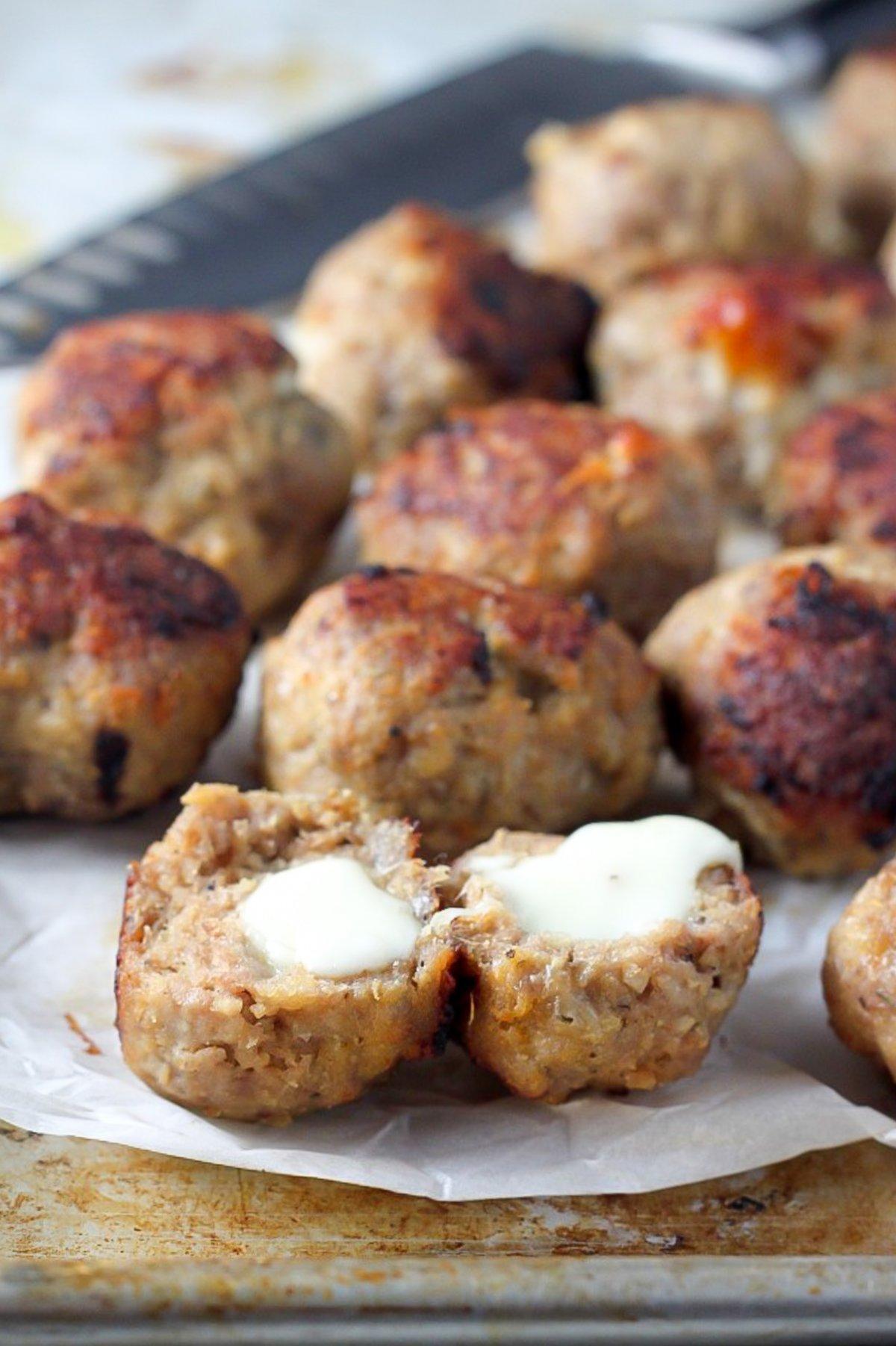 30-Minute Mozzarella Stuffed Turkey Meatballs with ...