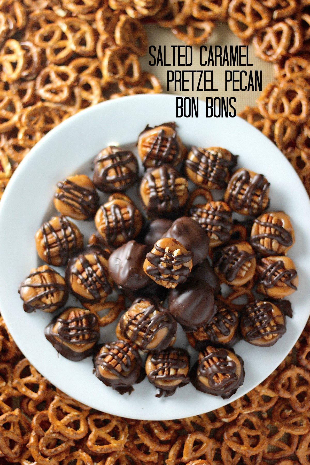 Salted Caramel Pretzel Pecan Bon Bons - Baker by Nature