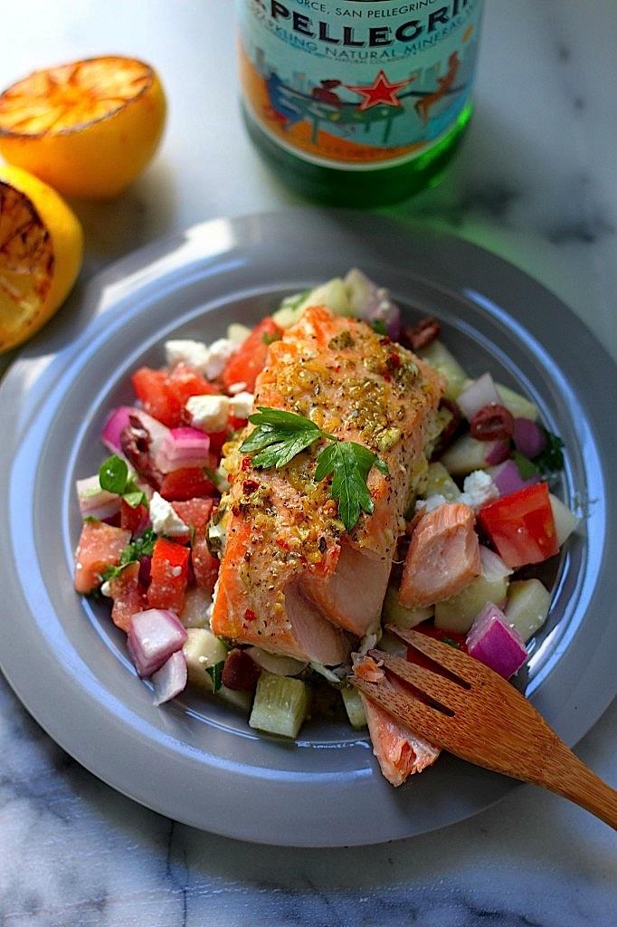 Baked Lemon and Herb Salmon with Greek Salad Salsa