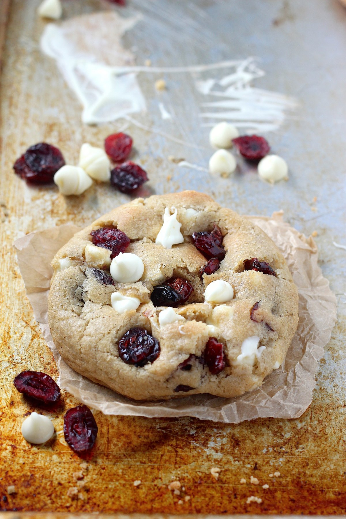 Thick and Chewy White Chocolate Cranberry Cookies - Baker by Nature
