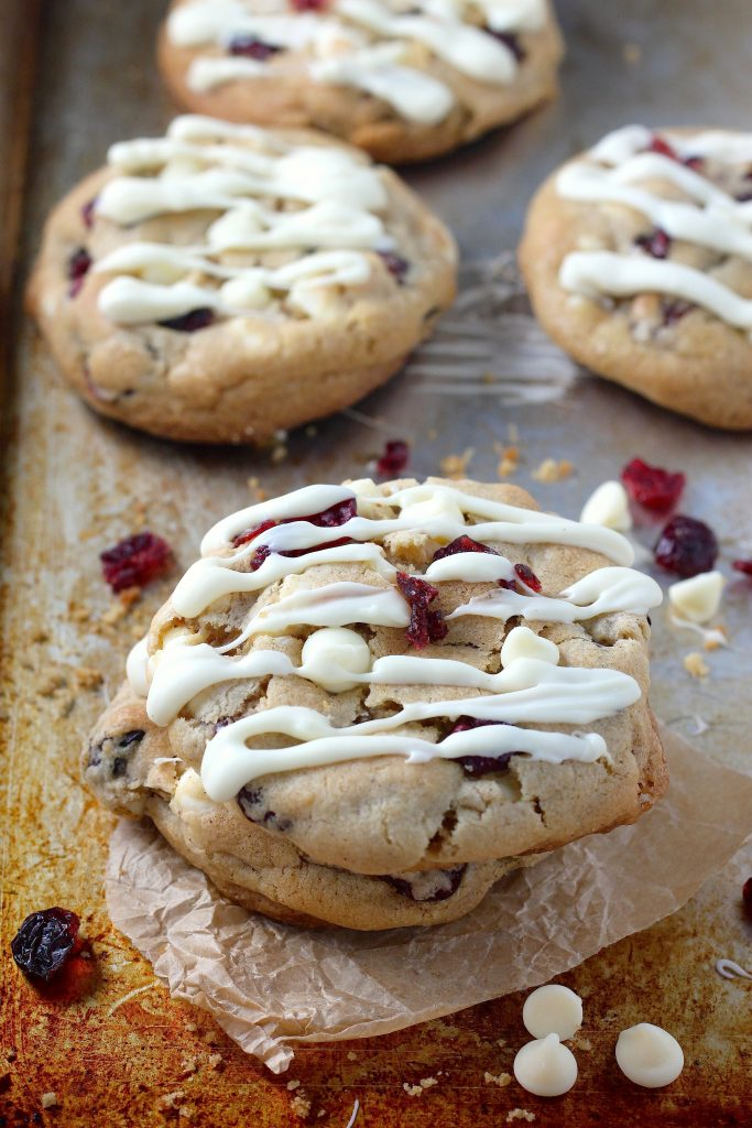 Thick and Chewy White Chocolate Cranberry Cookies
