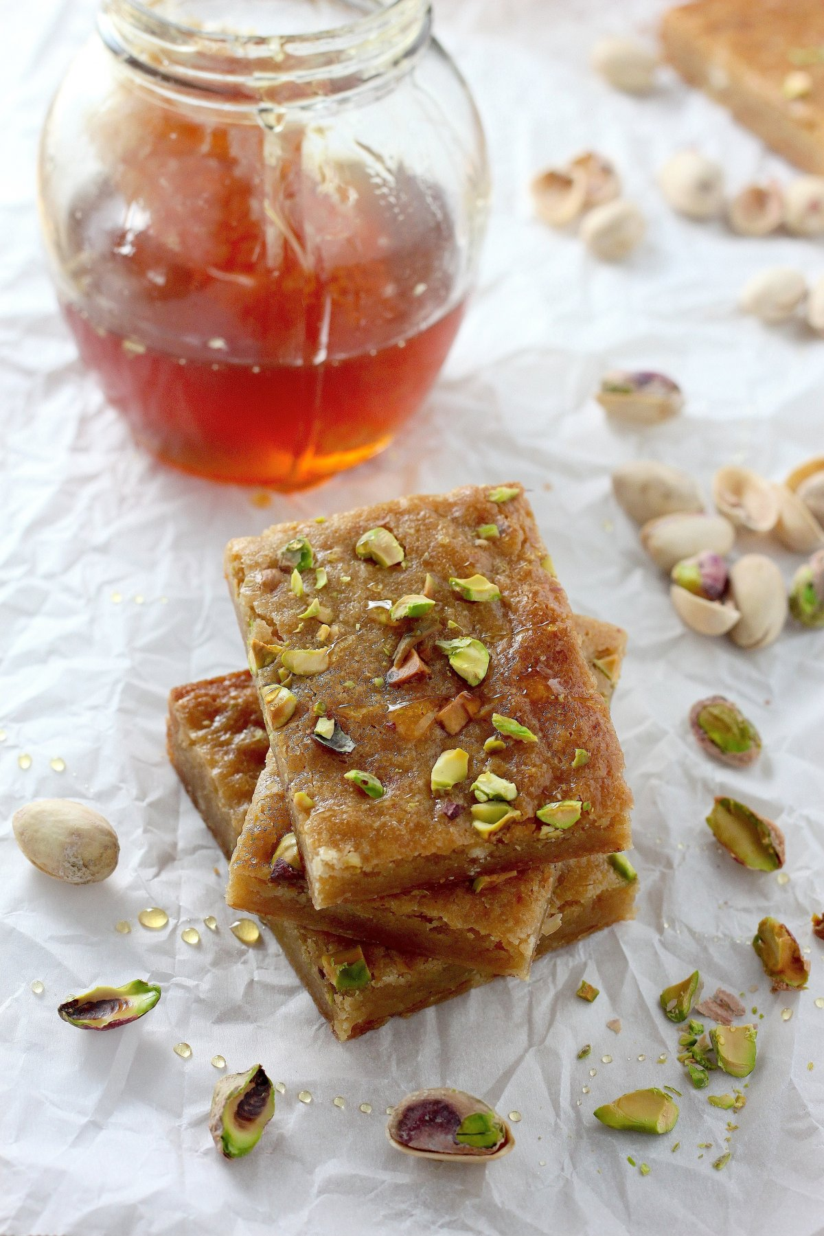 Brown Butter and Honey Pistachio Cookie Bars - Baker by Nature