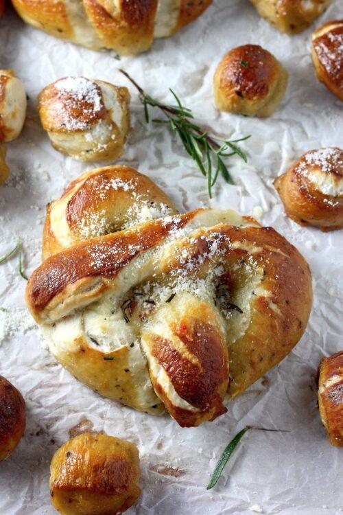 Mozzarella Stuffed Rosemary and Parmesan Soft Pretzels