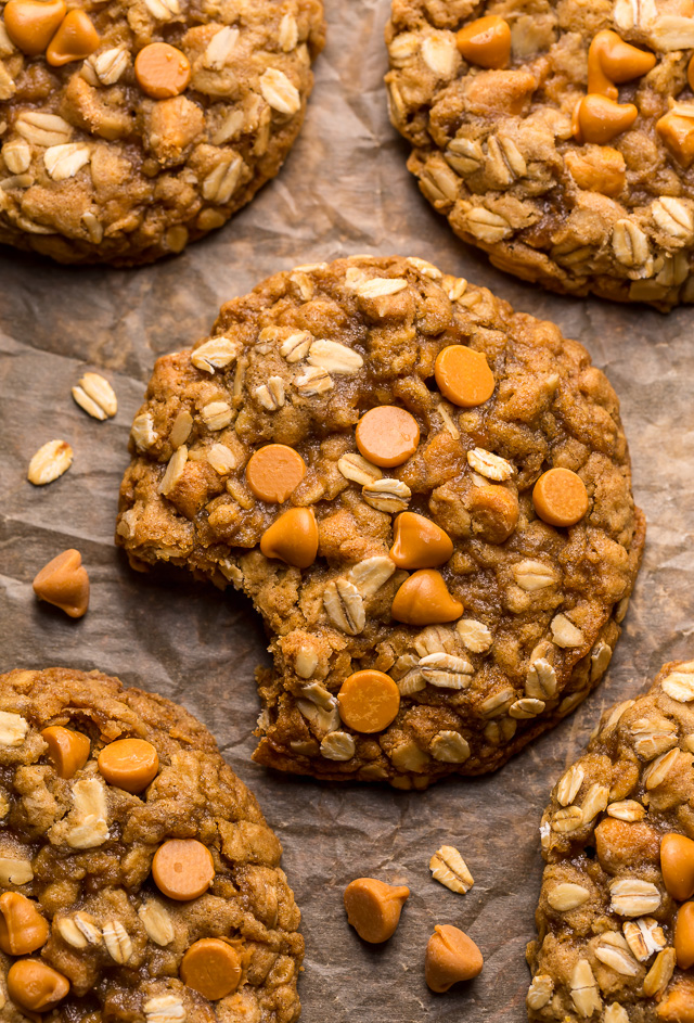These delightfully soft and chewy oatmeal scotchies are exploding with oats and butterscotch chips! A touch of orange zest and a drizzle of molasses take this from a good recipe to a great recipe! No chilling required, so preheat your oven to 350 degrees and jump to the recipe!