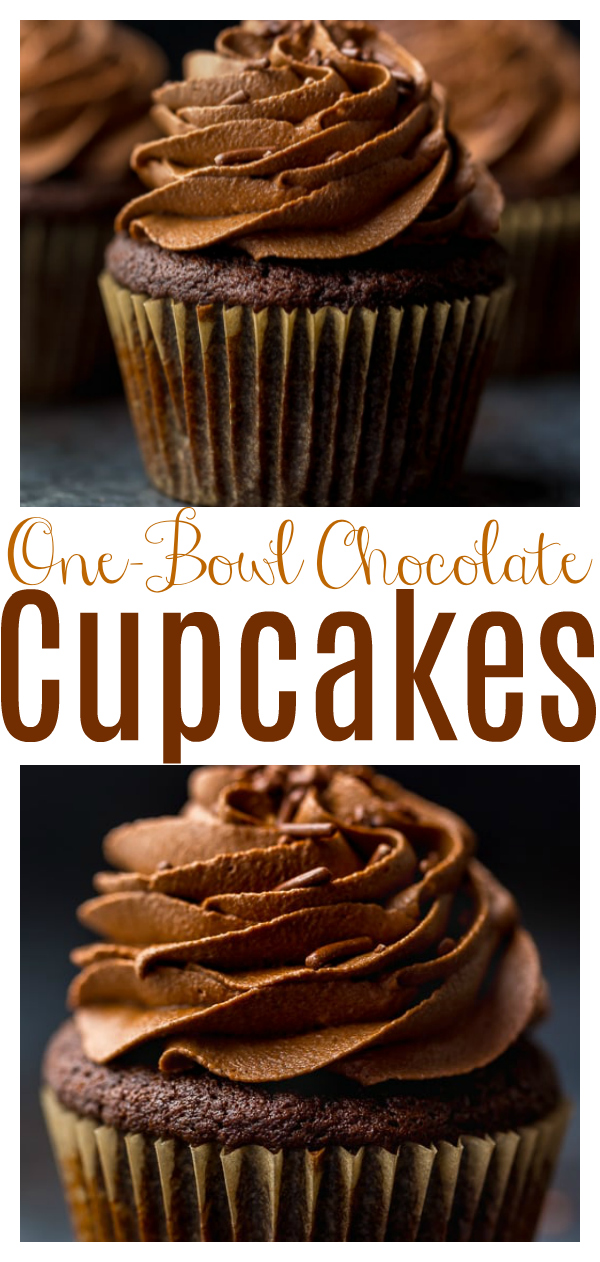 Homemade one-bowl chocolate cupcakes are rich, moist, and come together in a jiffy. Topped with a decadent chocolate buttercream, these cupcakes are as good as it gets! A must try for anyone searching for their perfect chocolate cupcake recipe!