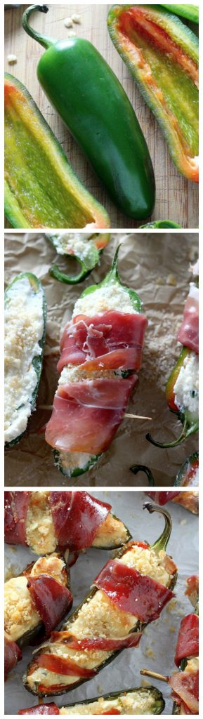 Prosciutto-Wrapped Four Cheese Stuffed Jalapeños make the perfect holiday finger food!