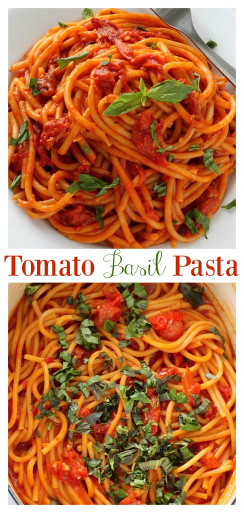 This One Pan Tomato Basil Pasta is so easy and flavorful!!! And because everything is made in a large stock pot, clean up is minimal. Serve garnished with Parmesan cheese and fresh basil leaves.