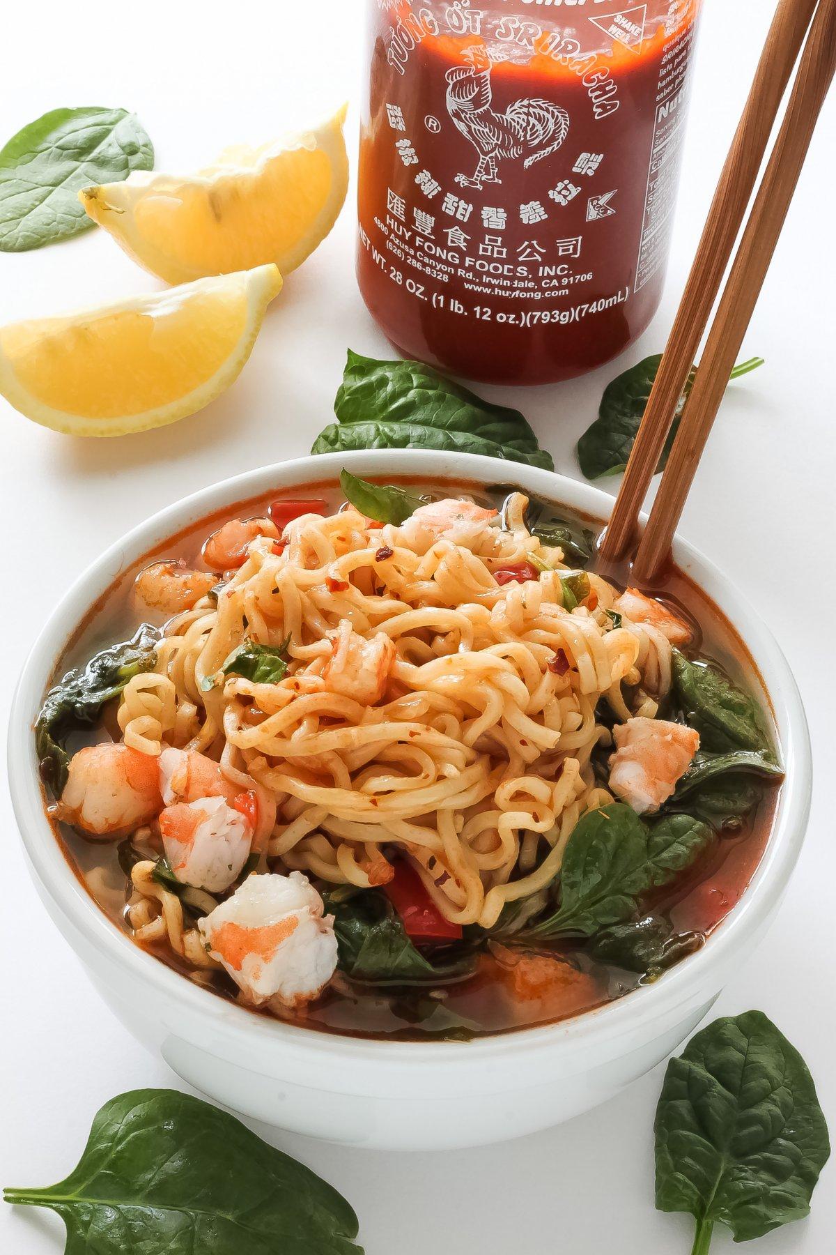 20 Minute Sriracha Shrimp Ramen Baker By Nature