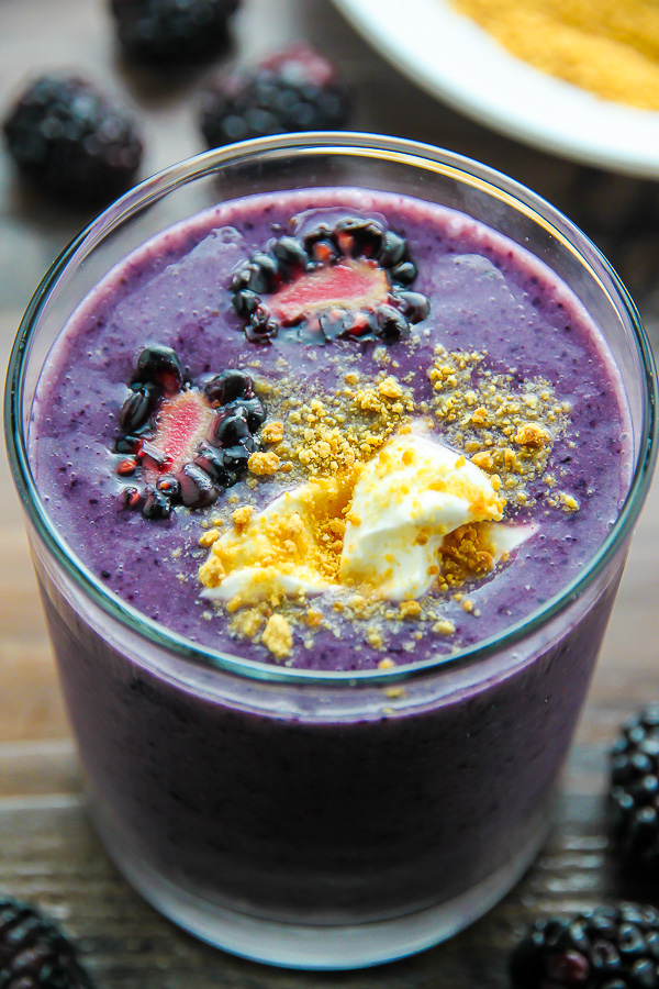 Loaded with blackberries, creamy yogurt, honey, and just a touch of cinnamon - this healthy, delicious smoothie tastes just like blackberry cobbler. One of my favorite smoothies ever!