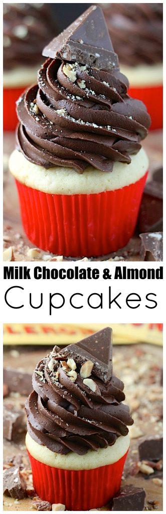 Toblerone Milk Chocolate and Almond Cupcakes