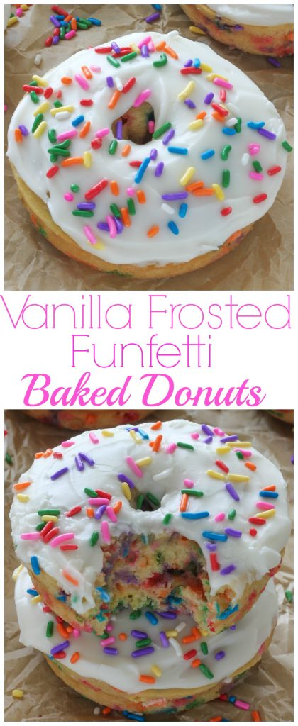 Vanilla frosted funfetti baked donuts