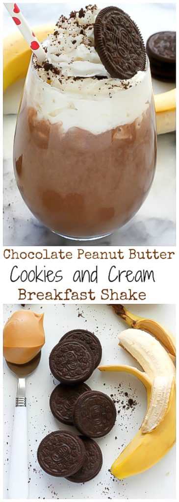 Chocolate Peanut Butter Cookies and Cream Breakfast Shake