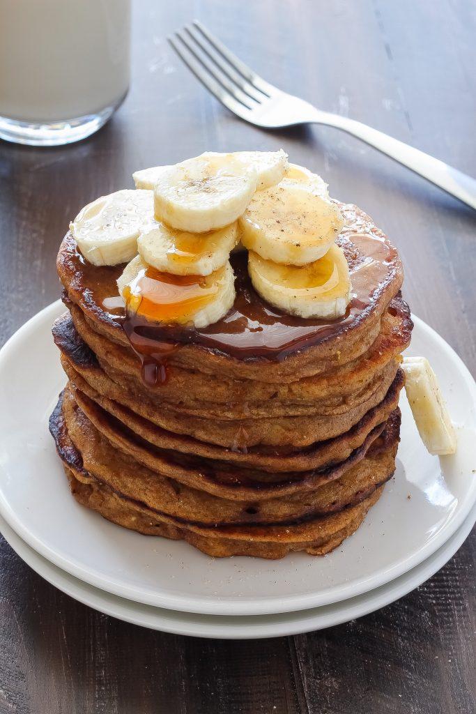 Healthy Greek Yogurt and Honey Banana Bread Pancakes