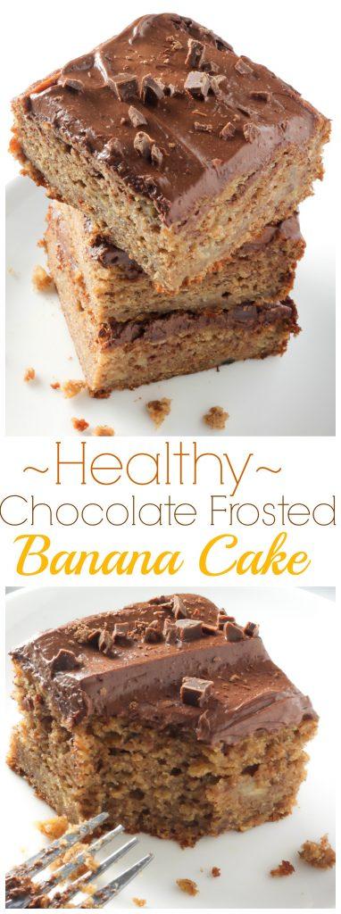 Healthy Whole Wheat Banana Cake with Creamy Greek Yogurt Chocolate Frosting
