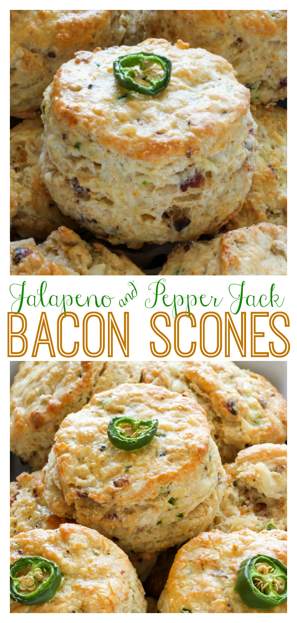 Bacon, Pepper Jack, and Jalapeno Scones are so flaky and flavorful! One of our favorite savory scone recipes. Serve for breakfast or with dinner!