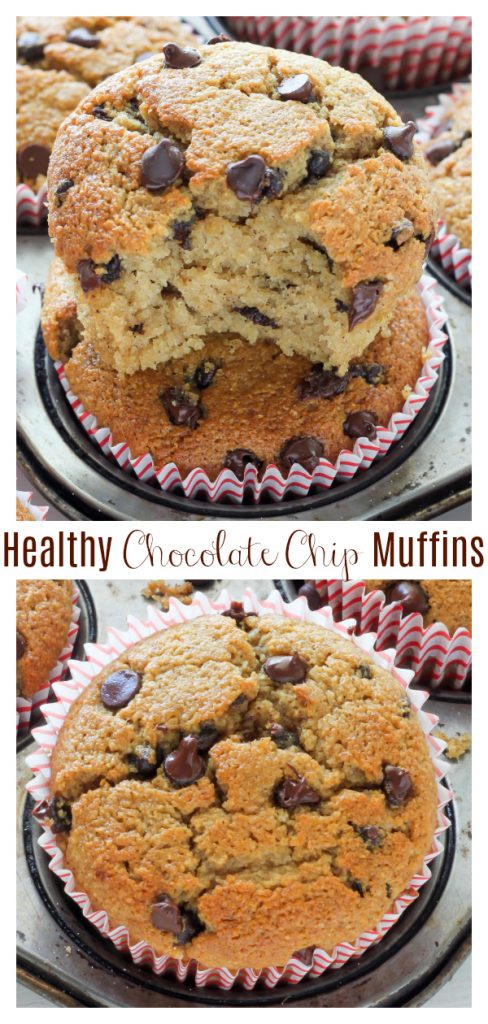 These incredibly delicious chocolate chip muffins bake up soft and fluffy – and with no butter, sugar, or gluten in the recipe – they're healthy enough as an everyday snack. They taste even better than the muffins you'd grab at the bakery!