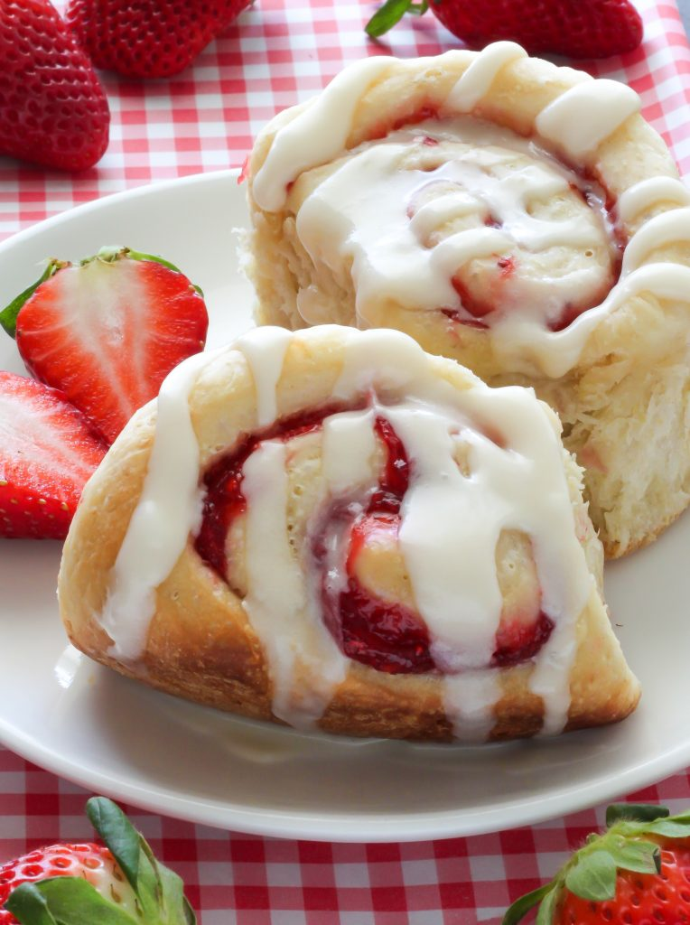 Strawberry Rolls with Vanilla Glaze