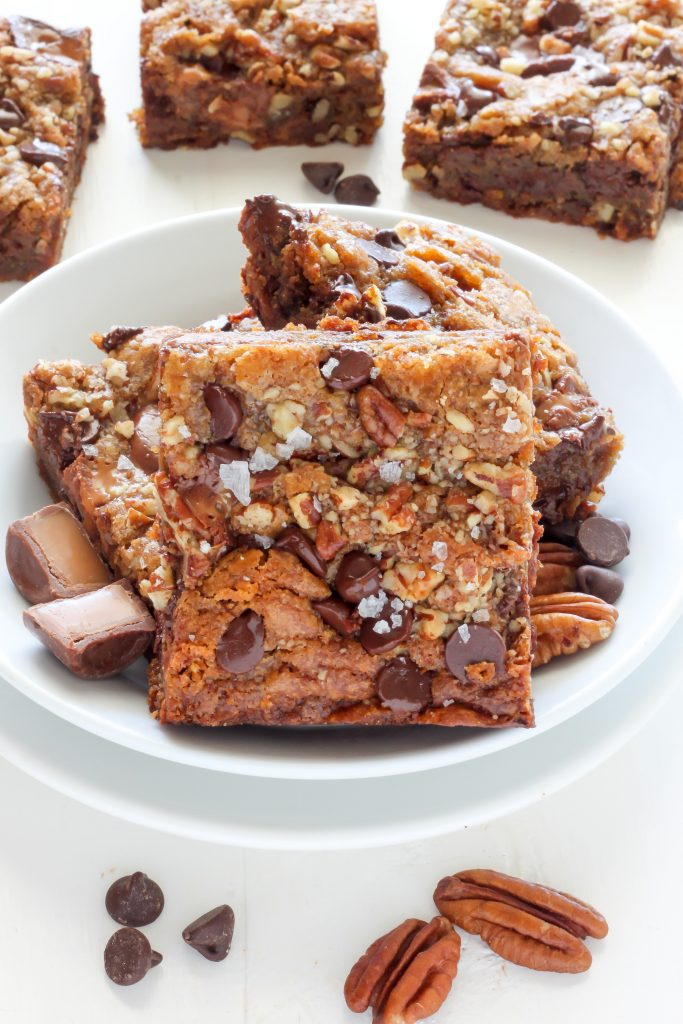 Salted Caramel Chocolate Pecan Brown Butter Blondies - Baker by Nature