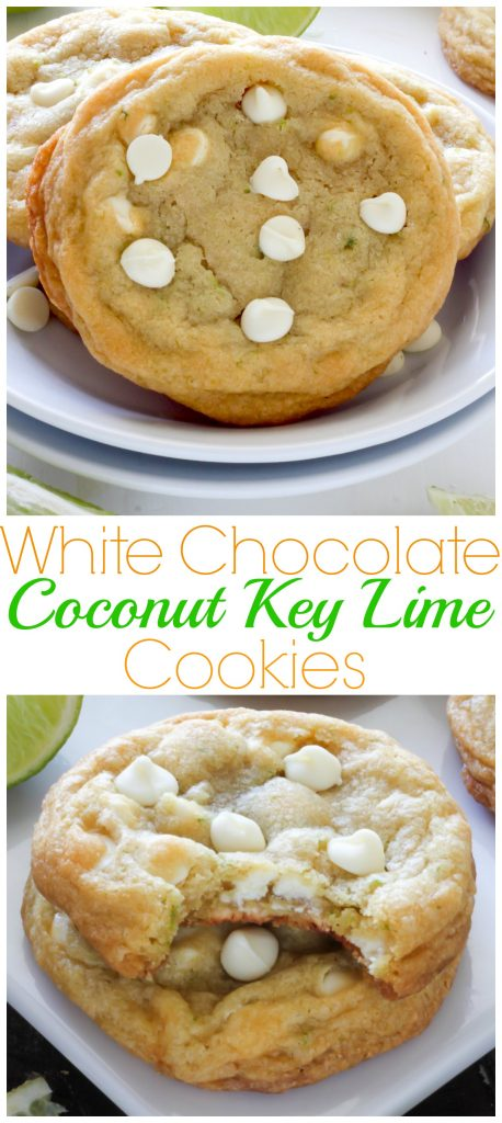 white chocolate coconut key lime cookies