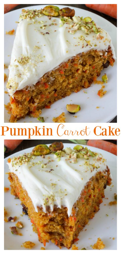 Insanely moist and flavorful Pumpkin Carrot Cake with Cream Cheese Frosting! Perfect for Easter celebrations! Top with crushed pistachios for an extra pretty presentation!