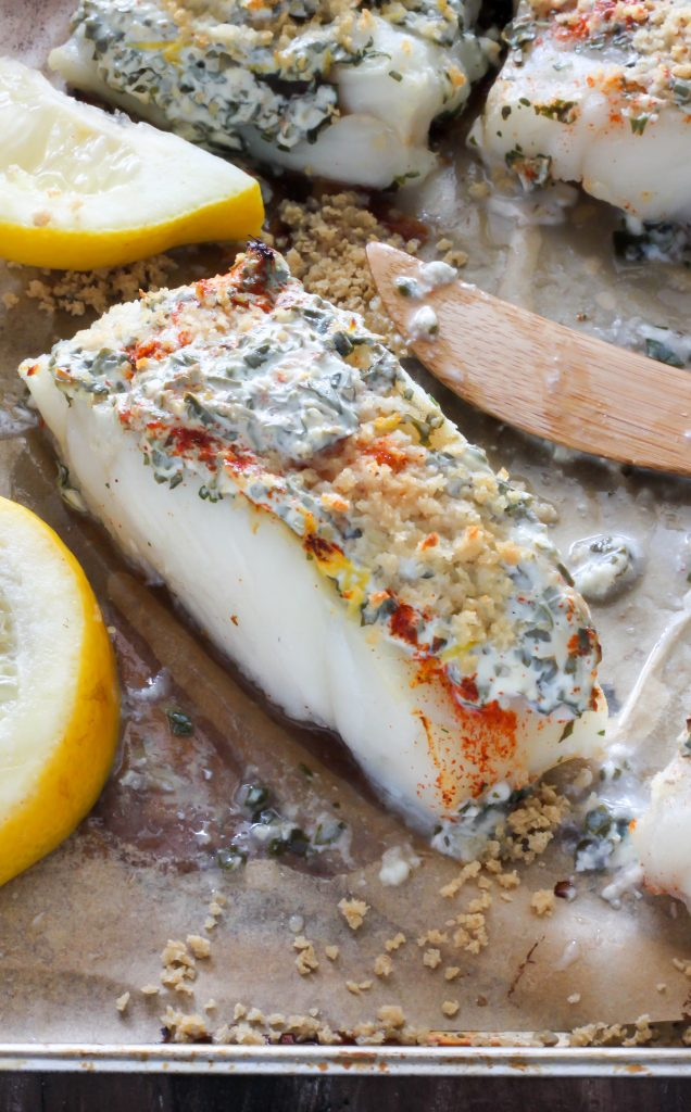 20 minute lemon garlic and herb baked cod baker by nature for Baking frozen fish